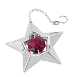 star with crystal elements silver plated