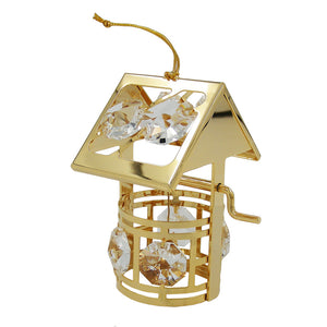 wishing well with crystal elements gold plated