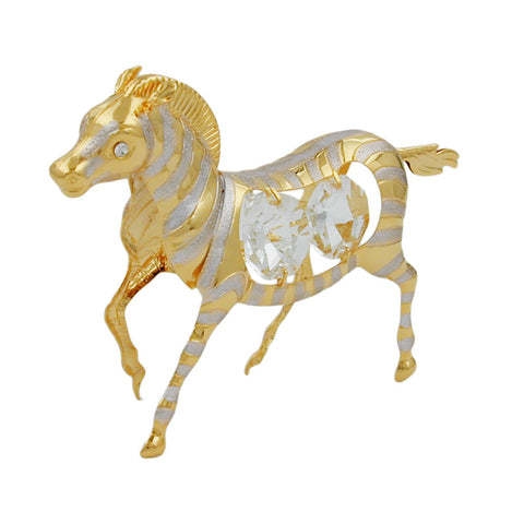 zebra with crystal elements gold plated