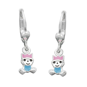 earring leverback pink-blue silver 925
