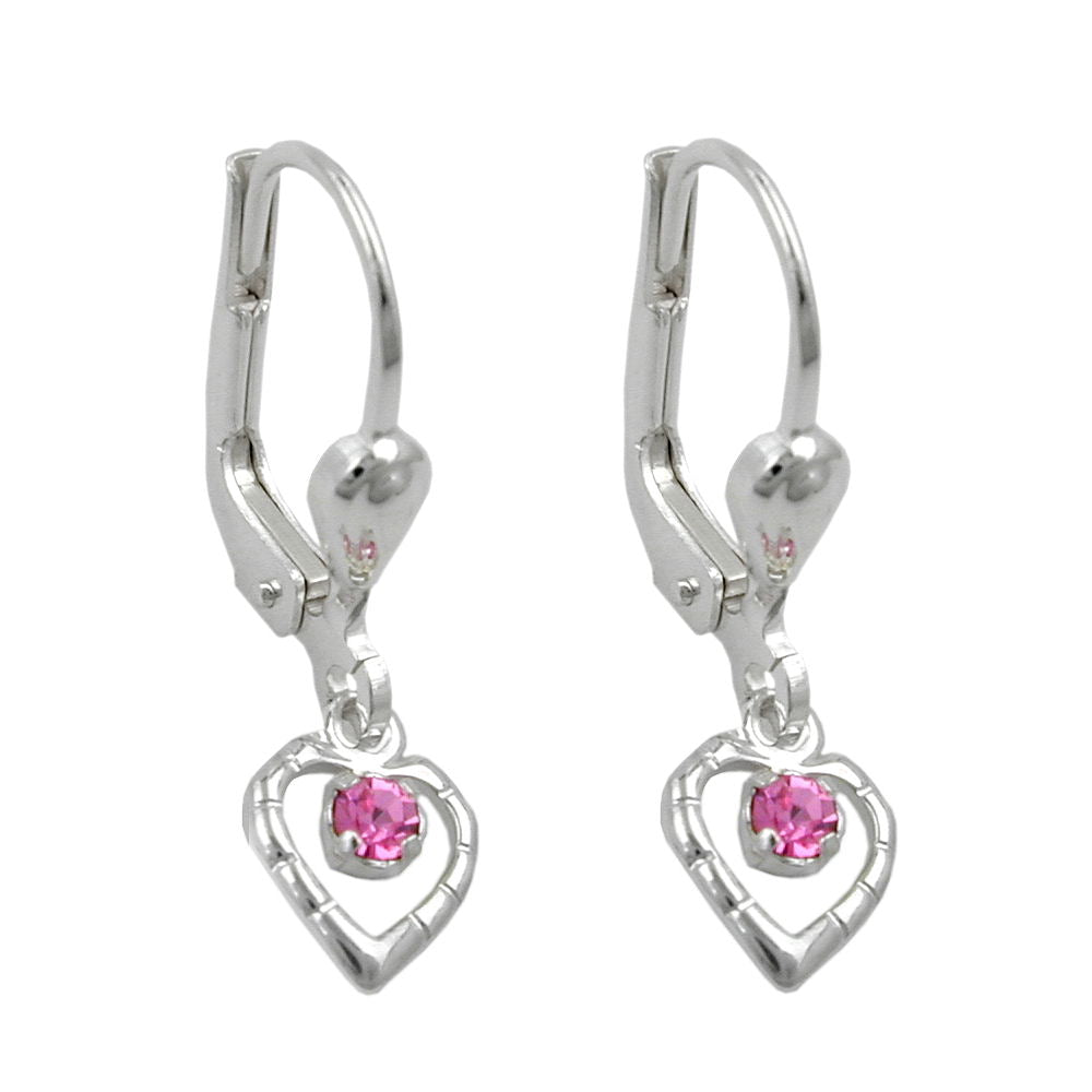 earrings leverback heart pink silver 925