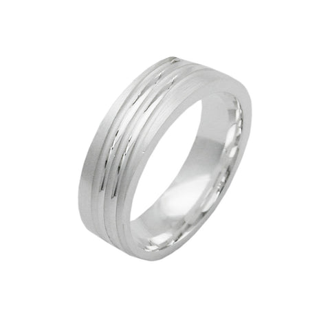 ring diagonal lines silver 925