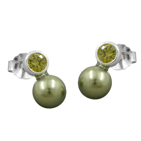 earrings bead and cz olive silver 925