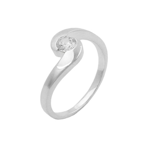 Ring with Round Zirconia Silver 925