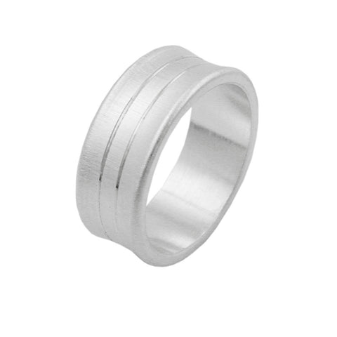Ring with 2 Lines Concave Matt Finish Silver 925