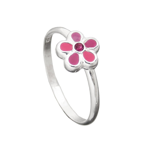 Ring with Pink Flower Silver 925