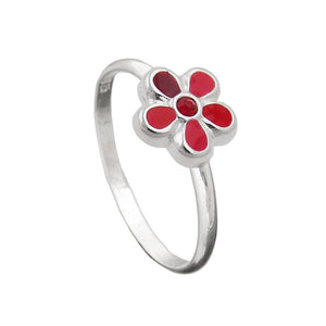 Ring for Kids Red Flower Silver 925