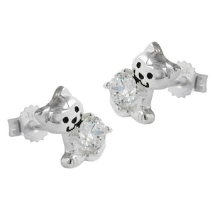 ear studs cat with cubic zirconia silver 925