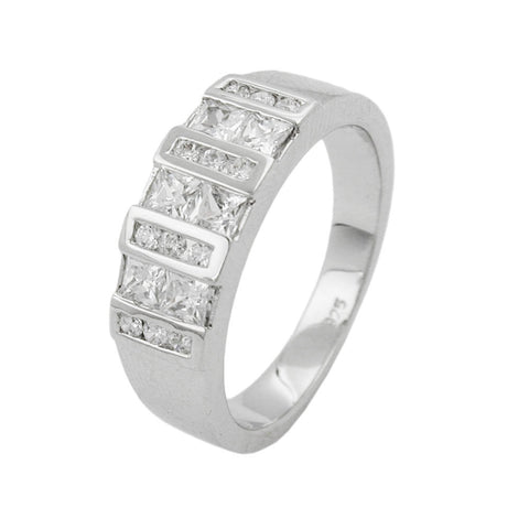 Ring with Bars Zirconias Silver 925