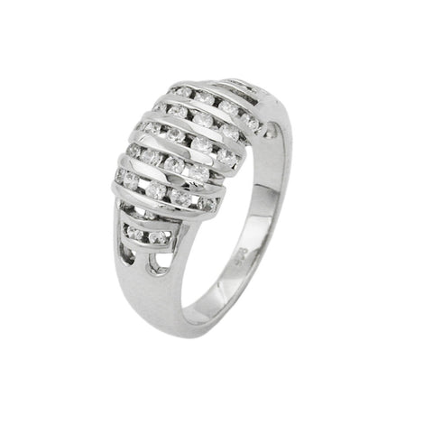 Ring with Bars Diagonal Zirconias Silver 925