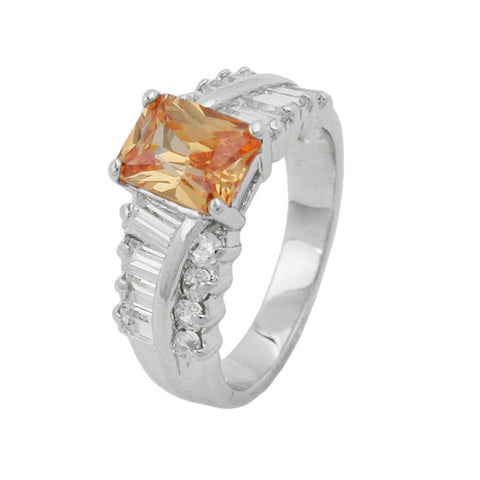 Ring with Zirconia Champagne / White Silver 925