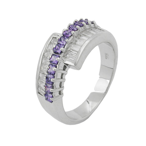 Ring with Zirconia Amethyst White Silver 925