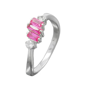ring pink/ white zirconia silver 925