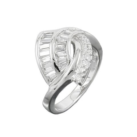 Ring with many Zirconia Crystals Silver 925