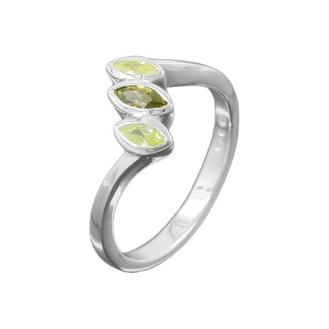 Ring with Zirconia Crystals Olivine / Peridot Silver 925