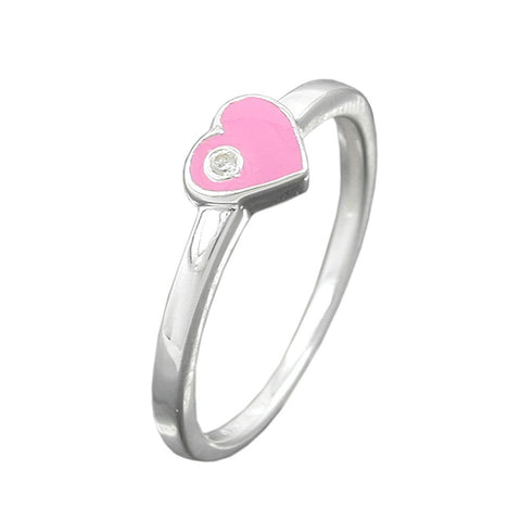 Ring with Heart Pink Zirconia Silver 925