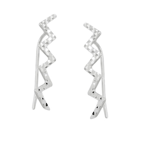 ear cuffs earrings zigzag silver 925