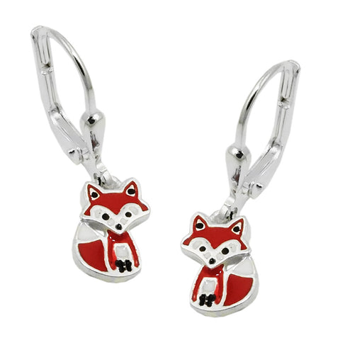 leverback earrings fox silver 925