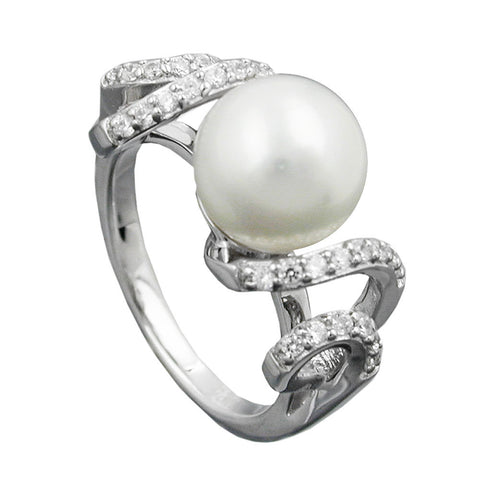 Ring with Pearl And Zirconias Silver 92