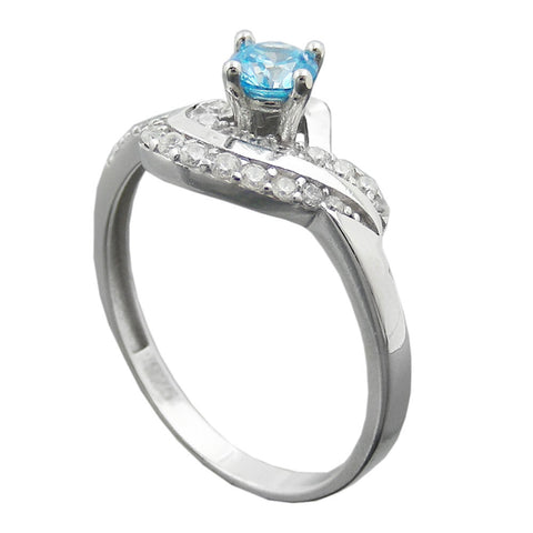 Ring with Zirconia Aqua/White Silver 925