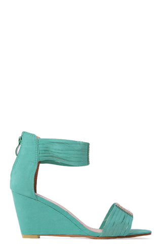 Embellished Wedge Sandals in Emerald Green
