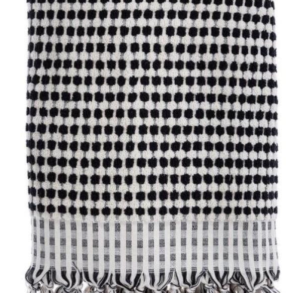 Pom Pom Hand Towel Black and White - Miss April Designs