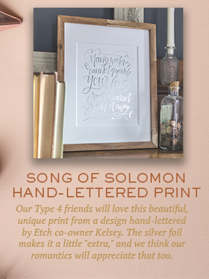 Song of Solomon hand-lettered print | Christmas gifts for Enneagram Type 4