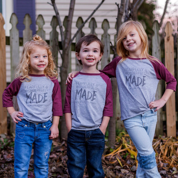 Fearfully & Wonderfully Made Toddler Baseball Tee in Burgandy