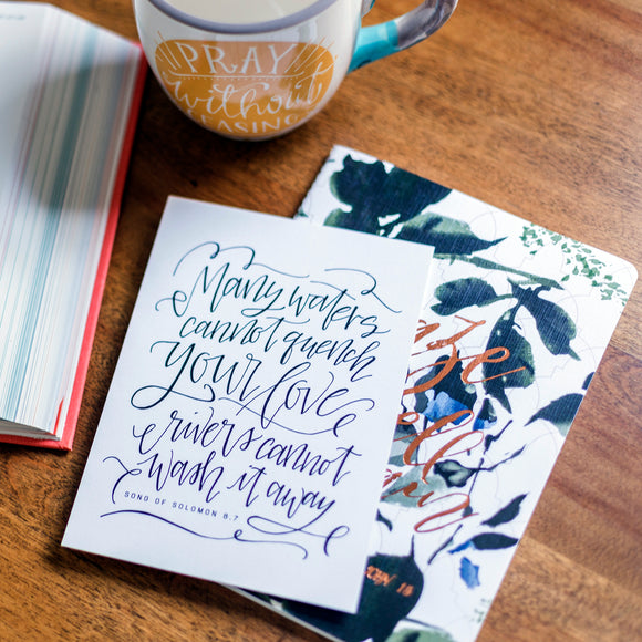 HAND-LETTERED ART | 5x7 | Song of Solomon 8:7 | Art Print w/Envelope