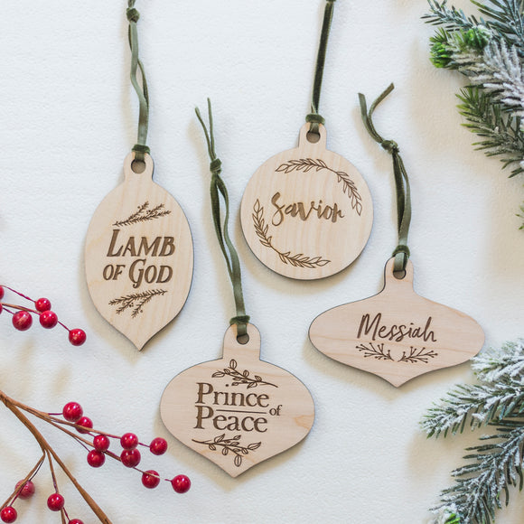 Christmas Ornaments | His Name Wood Ornament Sets - EtchLife