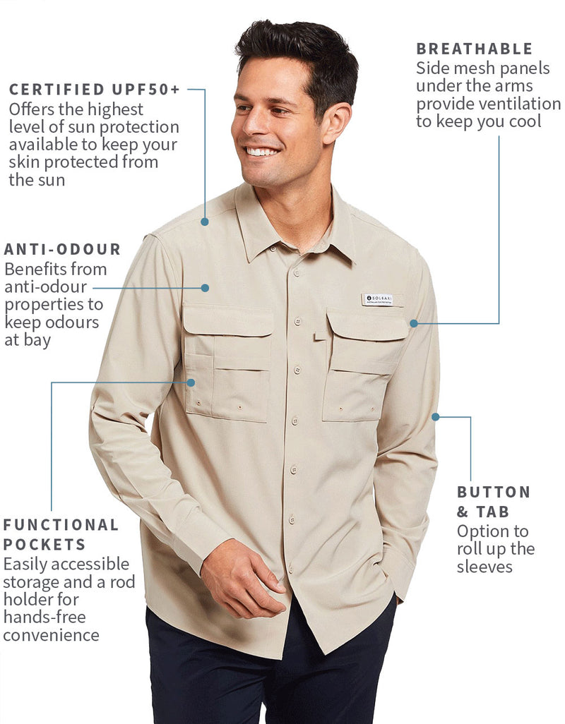 Solbari Sun Protection Men's UPF50+ Fishing & Hiking Shirt in Beige
