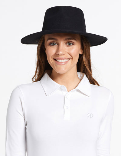 Solbari Sun Protection UPF50+ Women's Torquay Fedora in Black with Matte Black SB Pin