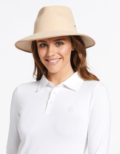 Solbari Sun Protection UPF50+ Women's Byron Fedora in Sand with Silver SB Pin