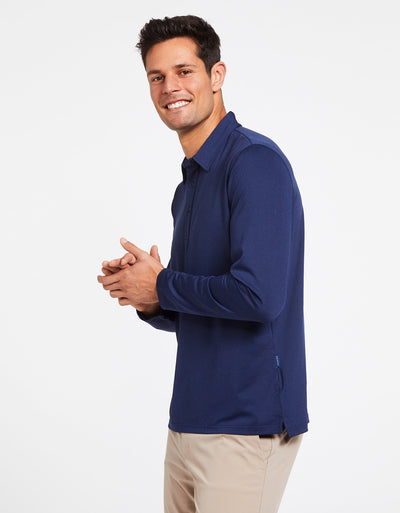 Solbari Sun Protection Men's UPF50+ Long Sleeve Polo Shirt Active Collection in Dark Navy