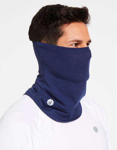 Solbari Sun Protection Curved Face & Neck Gaiter in Navy Sensitive Collection