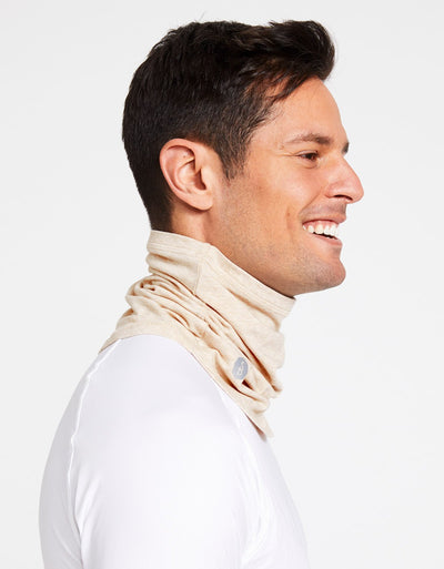 Solbari Sun Protection Curved Face & Neck Gaiter in Oatmeal Sensitive Collection