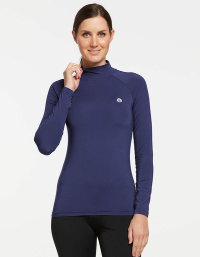 Solbari UPF 50+ Sun Protective Navy Turtleneck Base Layer for Women
