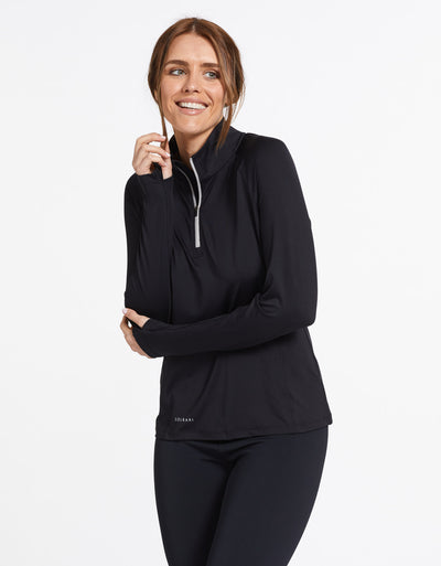 Solbari Sun Protection UPF50+ Women's Quarter Zip Top Active Collection in Black