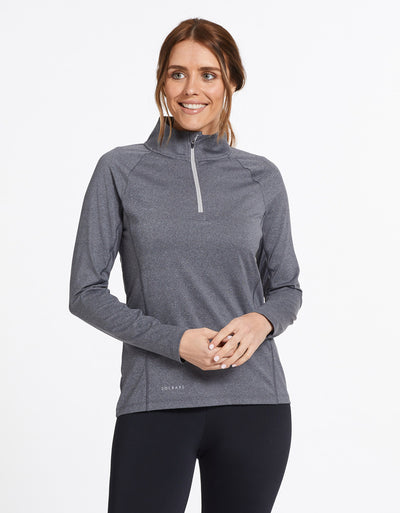 Solbari Sun Protection UPF50+ Women's Quarter Zip Top Active Collection in Dark Grey