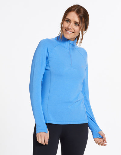 Solbari Sun Protection UPF50+ Women's Quarter Zip Top Sensitive Collection in Blue
