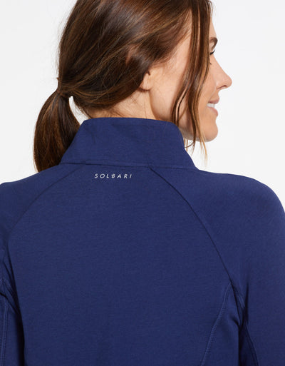 Solbari Sun Protection UPF50+ Women's Quarter Zip Top Sensitive Collection in Navy