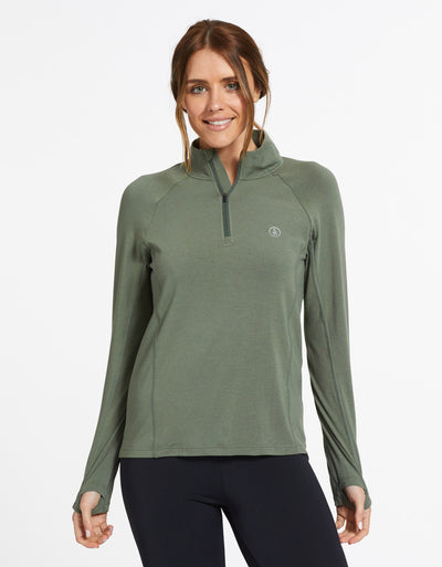 Solbari Sun Protection UPF50+ Women's Quarter Zip Top Sensitive Collection in Eucalyptus Green