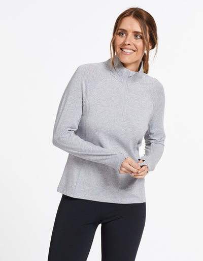 Solbari Sun Protection UPF50+ Women's Quarter Zip Top Sensitive Collection in Light Grey Marle