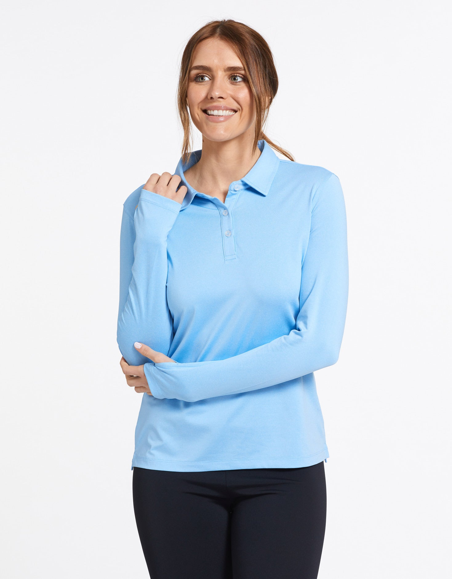 Ladies Long Sleeved Stretch Poloshirt WRAPSF Women