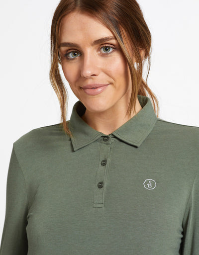 Solbari Sun Protection UPF50+ Women's Long Sleeve Polo Sensitive Collection in Eucalyptus Green