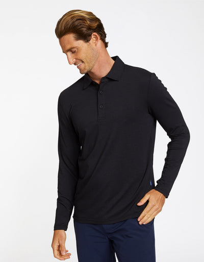Solbari Sun Protection Men's UPF50+ Long Sleeve Polo in Black Sensitive Collection