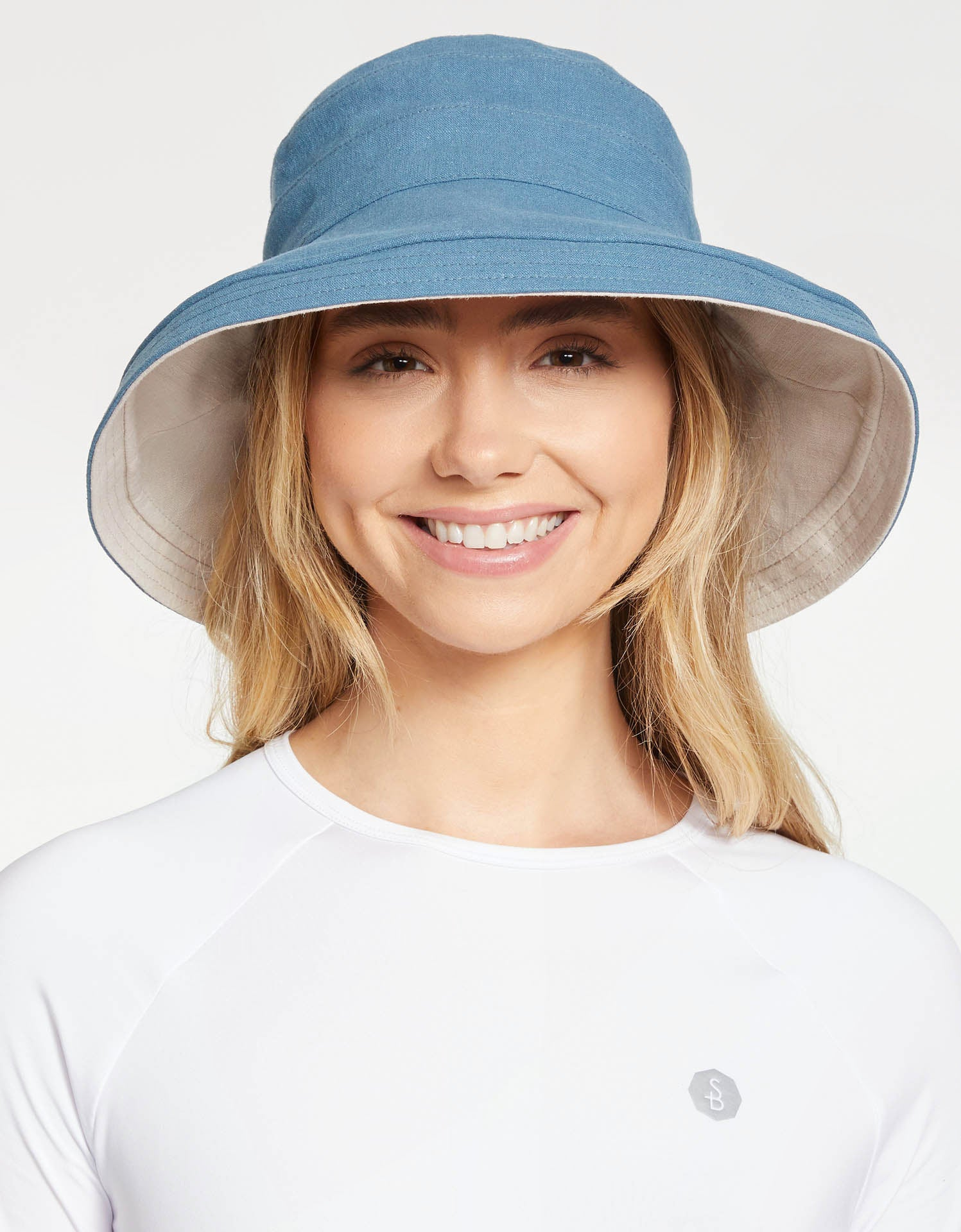 Solbari Sun Protection Women UPF50+ Holiday Reversible Sun Hat in Blue / Beige