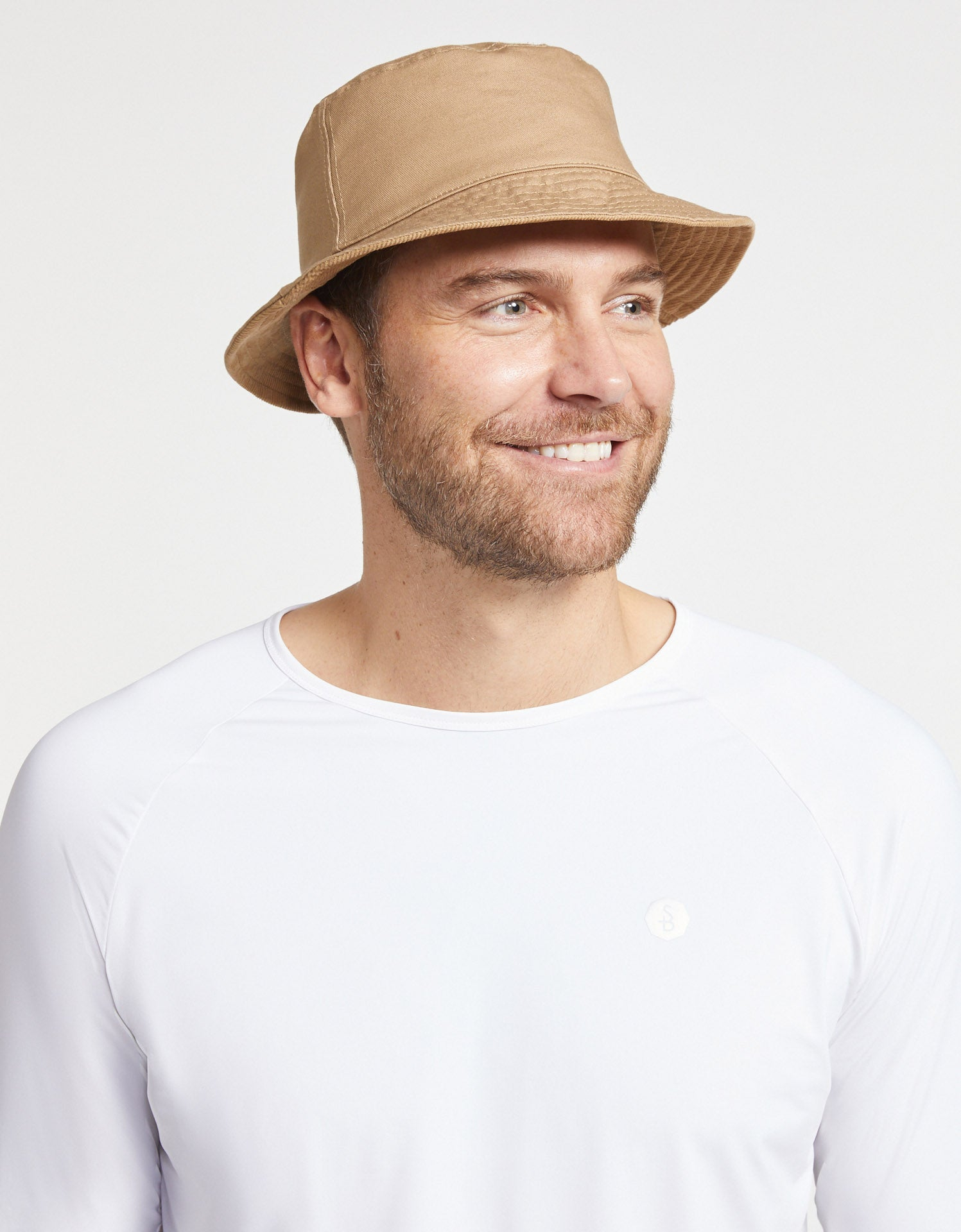 Solbari Sun Protection Men UPF50+ Corduroy Reversible Bucket Hat in Light Brown with Beige Underside