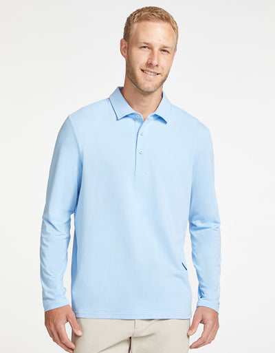 Solbari Sun Protection Men's UPF50+ Long Sleeve Polo in Light Blue Sensitive Collection