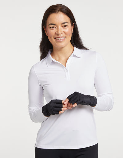 Solbari Sun Protection Women UPF50+ Fingerless Driving Gloves in Black